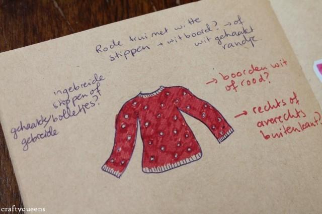 Een schets van mijn mogelijke trui-to-be